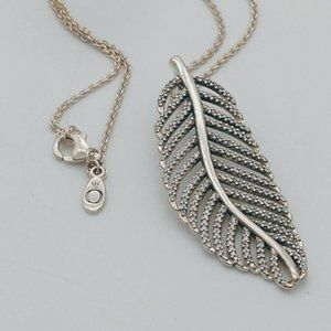Stamped Sterling Silver Light as a Feather CZ Pend